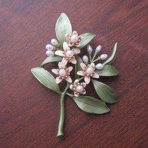 Elegant Freshwater Pearl Orange Blossom Brooch Pin